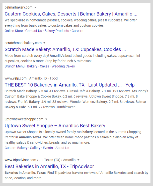 localized search results