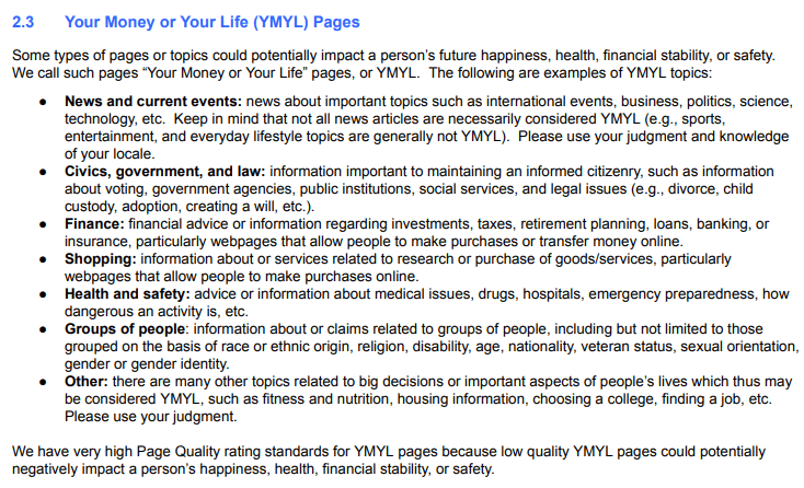 your money or your life (ymyl) pages